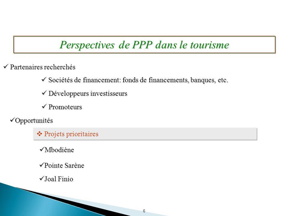 6 Projets prioritaires Opportunités Opportunités Mbodiène Mbodiène Pointe Sarène Pointe Sarène Perspectives de PPP dans le tourisme Joal Finio Joal Fi