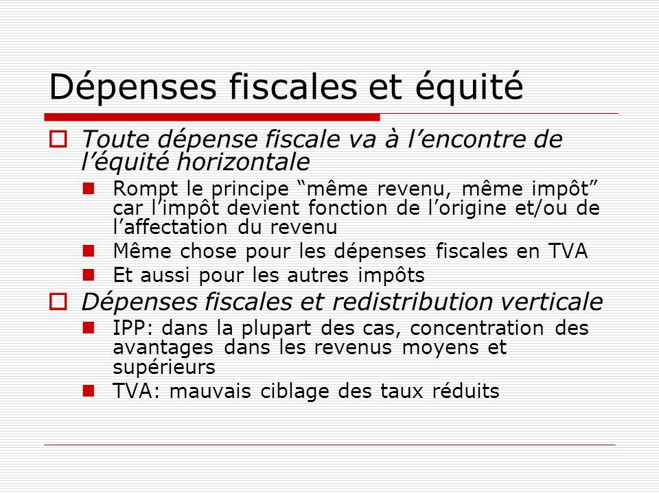 Dépenses fiscales et équité Toute dépense fiscale va à lencontre de léquité horizontale Rompt le principe même revenu, même impôt car limpôt devient f