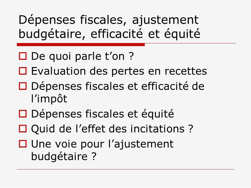Dépenses fiscales, ajustement budgétaire, efficacité et équité De quoi parle ton ? Evaluation des pertes en recettes Dépenses fiscales et efficacité d
