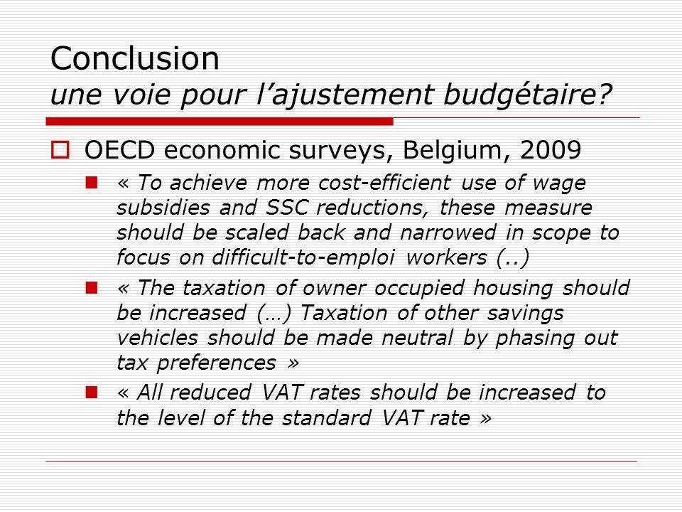 Conclusion une voie pour lajustement budgétaire? OECD economic surveys, Belgium, 2009 « To achieve more cost-efficient use of wage subsidies and SSC r