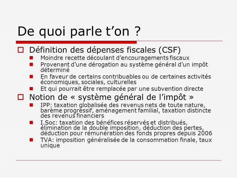 De quoi parle ton ? Définition des dépenses fiscales (CSF) Moindre recette découlant dencouragements fiscaux Provenant dune dérogation au système géné