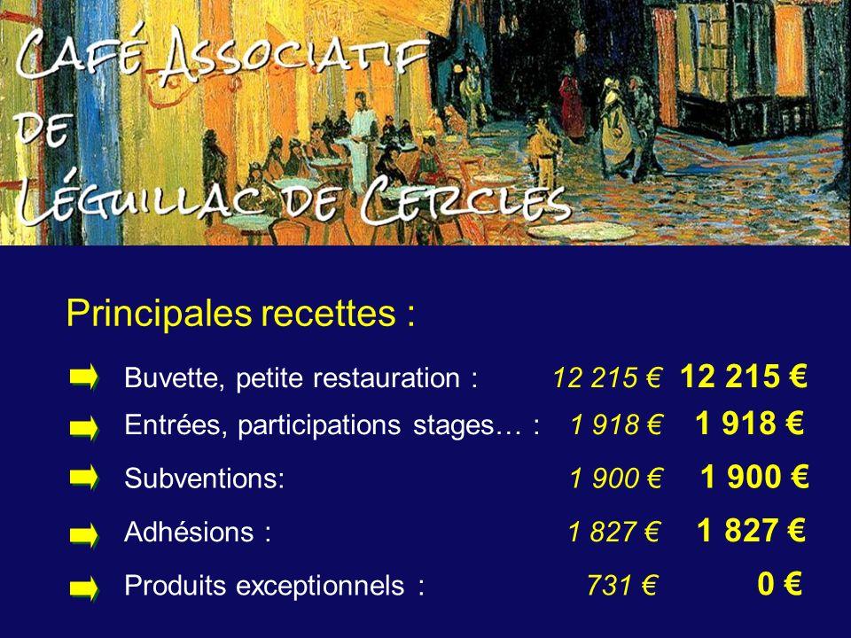 Principales recettes : Adhésions : 1 827 1 827 Subventions: 1 900 1 900 Entrées, participations stages… : 1 918 1 918 Buvette, petite restauration : 1