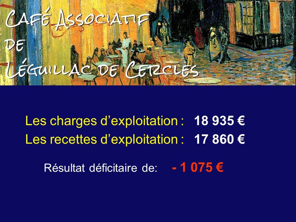 Les recettes dexploitation : 17 860 Les charges dexploitation : 18 935 Résultat déficitaire de: - 1 075