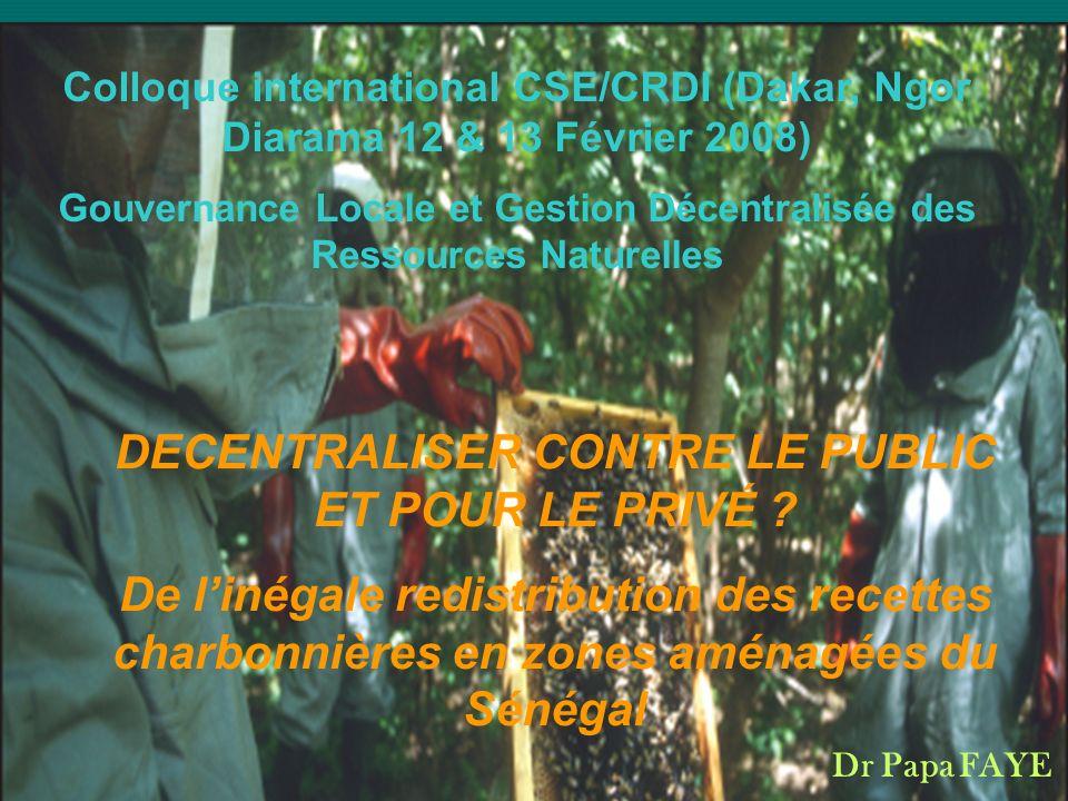 Le Contexte Création des CL (région, commune & CR) Création des CL (région, commune & CR) Transfert de neuf domaines de compétences dont la GRN&Environnement Transfert de neuf domaines de compétences dont la GRN&Environnement Transfert de la gestion des forêts communautaires aux CR (conseils ruraux:délibérant & PCR:exécutif) Transfert de la gestion des forêts communautaires aux CR (conseils ruraux:délibérant & PCR:exécutif) Gestion des forêts sises en zones de terroir sur la base dun plan daménagement approuvé par lautorité compétente de lÉtat Gestion des forêts sises en zones de terroir sur la base dun plan daménagement approuvé par lautorité compétente de lÉtat Délivrance dune autorisation préalable pour toute coupe à lintérieur du périmètre de la communauté rurale Délivrance dune autorisation préalable pour toute coupe à lintérieur du périmètre de la communauté rurale Quote-part damendes prévues par le code forestier (elle est constituée des sept dixièmes Quote-part damendes prévues par le code forestier (elle est constituée des sept dixièmes Constitution et fonctionnement des comités de vigilance, en vue de lutter contre les feux de brousse Constitution et fonctionnement des comités de vigilance, en vue de lutter contre les feux de brousse Création de bois et daires protégées Création de bois et daires protégées