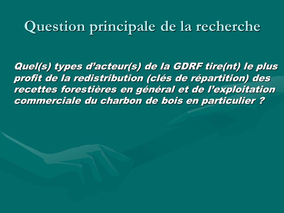 Question principale de la recherche Quel(s) types dacteur(s) de la GDRF tire(nt) le plus profit de la redistribution (clés de répartition) des recettes forestières en général et de lexploitation commerciale du charbon de bois en particulier