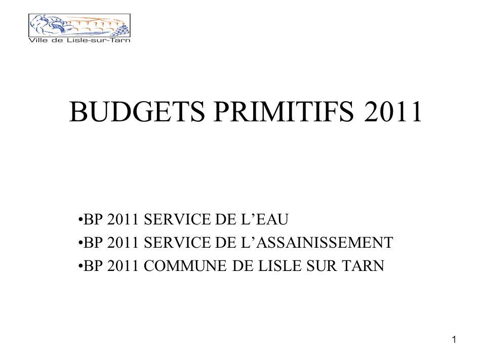 1 BUDGETS PRIMITIFS 2011 BP 2011 SERVICE DE LEAU BP 2011 SERVICE DE LASSAINISSEMENT BP 2011 COMMUNE DE LISLE SUR TARN