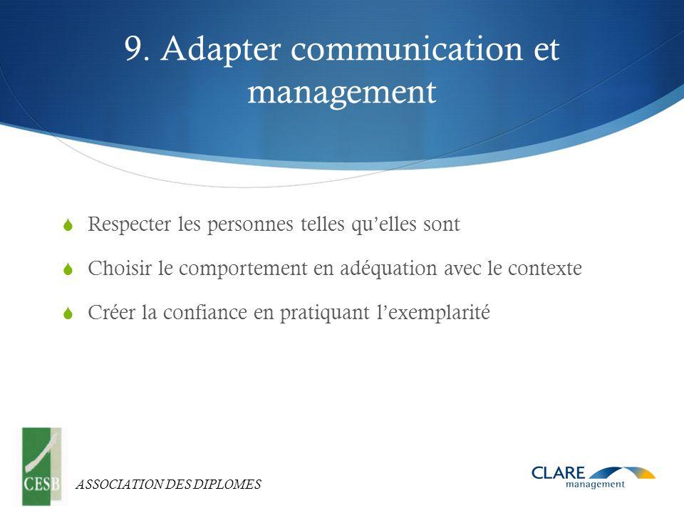 ASSOCIATION DES DIPLOMES 9. Adapter communication et management Respecter les personnes telles quelles sont Choisir le comportement en adéquation avec