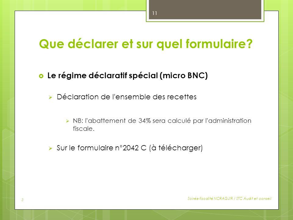 Que déclarer et sur quel formulaire? Le régime déclaratif spécial (micro BNC) Déclaration de lensemble des recettes NB: labattement de 34% sera calcul