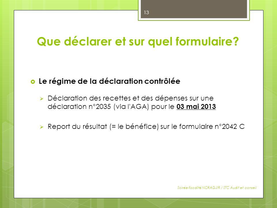 Que déclarer et sur quel formulaire? Le régime de la déclaration contrôlée Déclaration des recettes et des dépenses sur une déclaration n°2035 (via lA