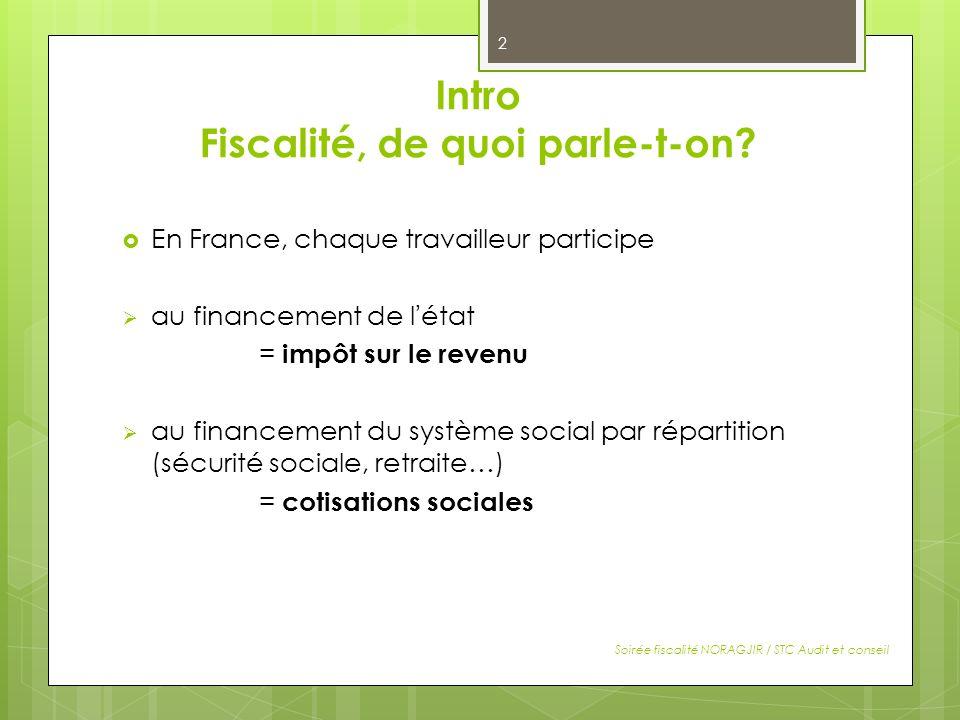 Intro Fiscalité, de quoi parle-t-on? En France, chaque travailleur participe au financement de létat = impôt sur le revenu au financement du système s