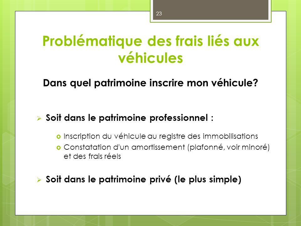 Problématique des frais liés aux véhicules Dans quel patrimoine inscrire mon véhicule? Soit dans le patrimoine professionnel : Inscription du véhicule