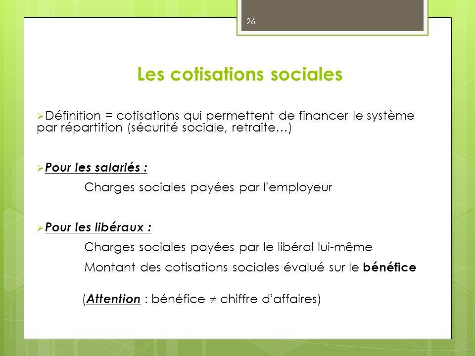 Les cotisations sociales Définition = cotisations qui permettent de financer le système par répartition (sécurité sociale, retraite…) Pour les salarié