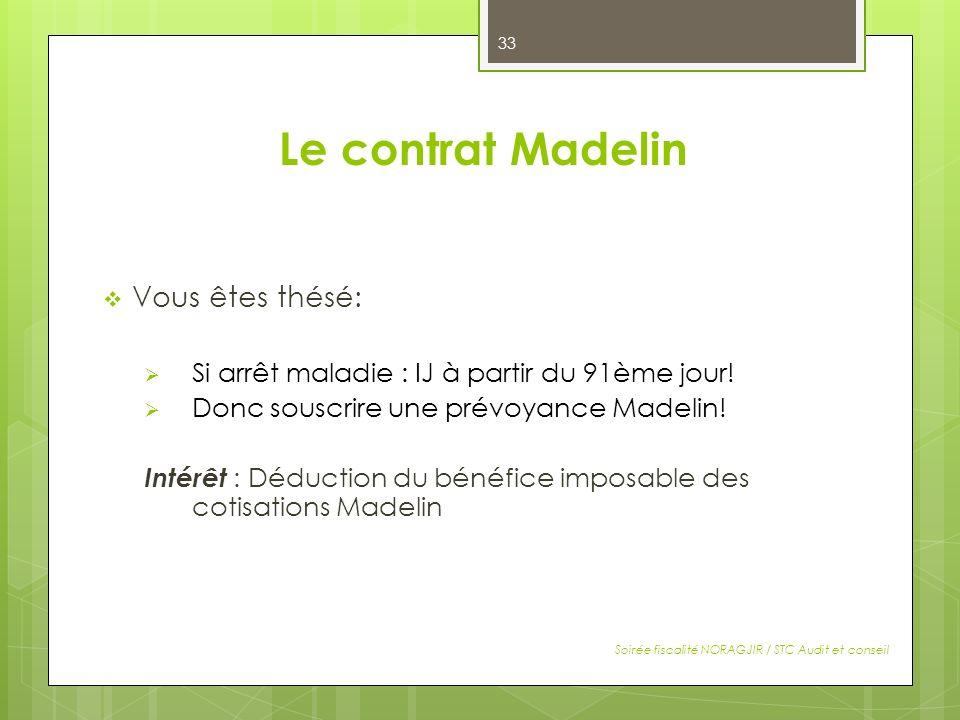 Le contrat Madelin Vous êtes thésé: Si arrêt maladie : IJ à partir du 91ème jour! Donc souscrire une prévoyance Madelin! Intérêt : Déduction du bénéfi
