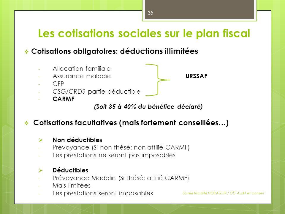 Les cotisations sociales sur le plan fiscal Cotisations obligatoires: d éductions illimitées - Allocation familiale - Assurance maladie URSSAF - CFP -