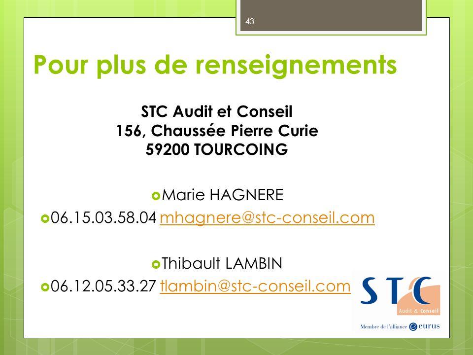 Pour plus de renseignements STC Audit et Conseil 156, Chaussée Pierre Curie 59200 TOURCOING Marie HAGNERE 06.15.03.58.04 mhagnere@stc-conseil.commhagn
