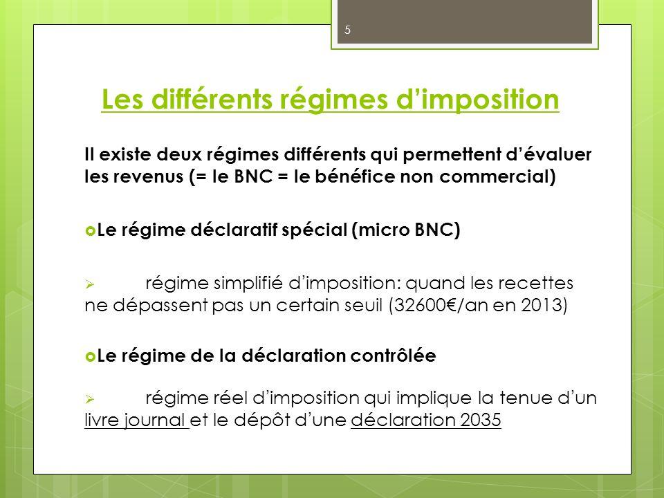 Les différents régimes dimposition Il existe deux régimes différents qui permettent dévaluer les revenus (= le BNC = le bénéfice non commercial) Le ré