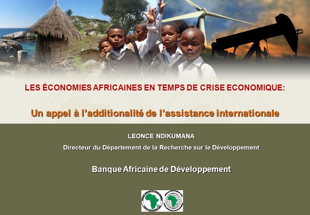 LES ÉCONOMIES AFRICAINES EN TEMPS DE CRISE ECONOMIQUE: Un appel à ladditionalité de lassistance internationale LEONCE NDIKUMANA Directeur du Département de la Recherche sur le Développement Banque Africaine de Développement