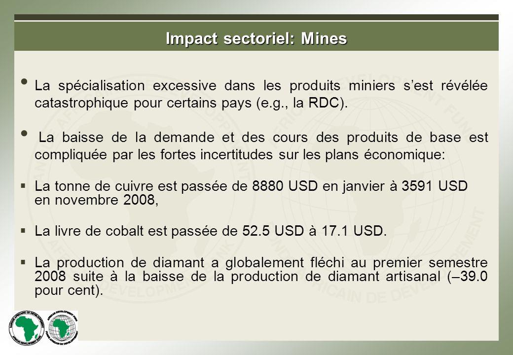 Impact sectoriel: Mines La spécialisation excessive dans les produits miniers sest révélée catastrophique pour certains pays (e.g., la RDC).