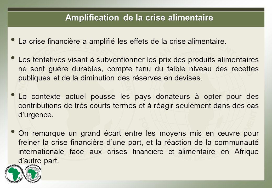 Amplification de la crise alimentaire La crise financière a amplifié les effets de la crise alimentaire.