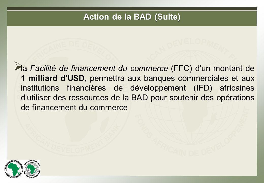 Action de la BAD (Suite) la Facilité de financement du commerce (FFC) dun montant de 1 milliard dUSD, permettra aux banques commerciales et aux institutions financières de développement (IFD) africaines dutiliser des ressources de la BAD pour soutenir des opérations de financement du commerce