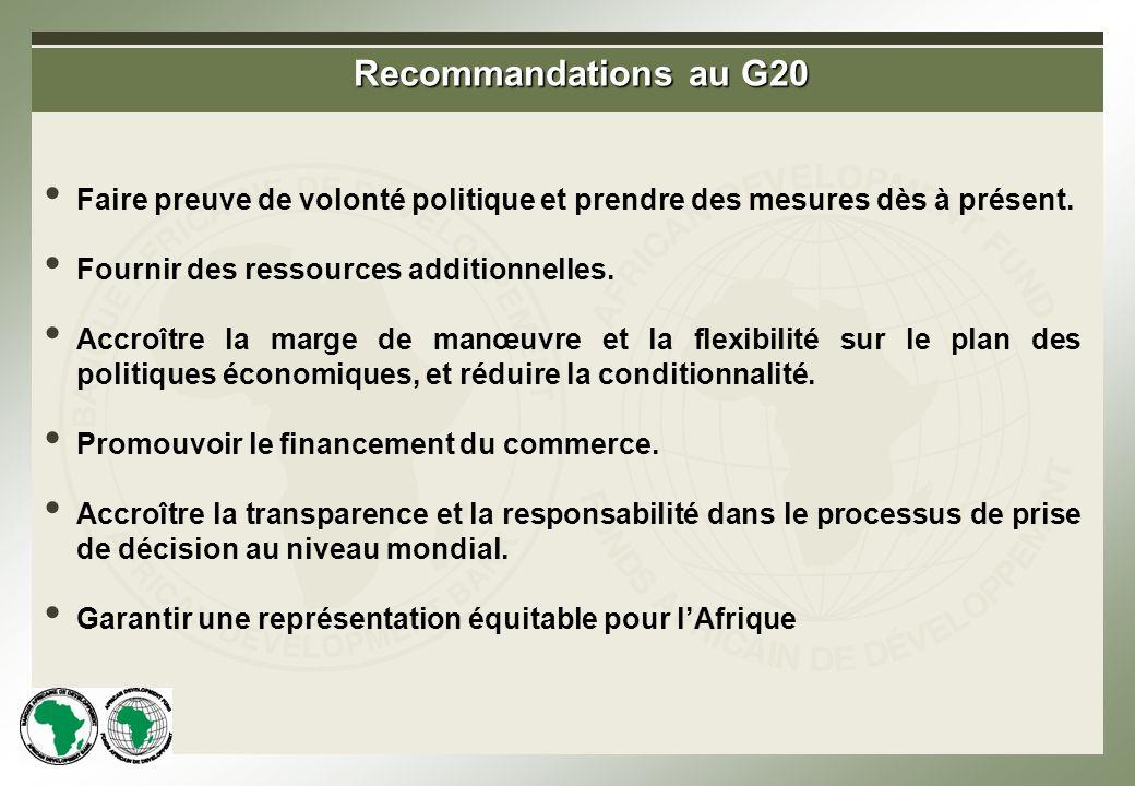 Recommandations au G20 Faire preuve de volonté politique et prendre des mesures dès à présent.