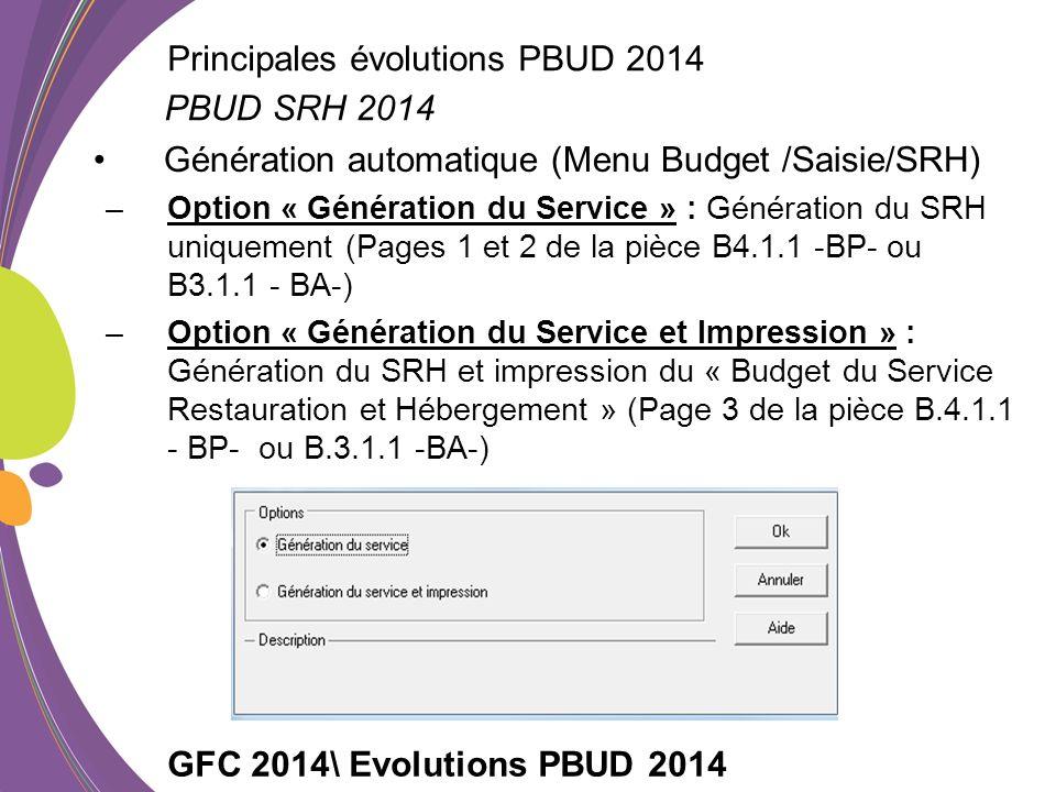 Génération automatique (Menu Budget /Saisie/SRH) –Option « Génération du Service » : Génération du SRH uniquement (Pages 1 et 2 de la pièce B4.1.1 -BP- ou B3.1.1 - BA-) –Option « Génération du Service et Impression » : Génération du SRH et impression du « Budget du Service Restauration et Hébergement » (Page 3 de la pièce B.4.1.1 - BP- ou B.3.1.1 -BA-) GFC 2014\ Evolutions PBUD 2014 PBUD SRH 2014 Principales évolutions PBUD 2014