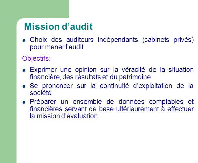 Mission daudit Choix des auditeurs indépendants (cabinets privés) pour mener laudit.