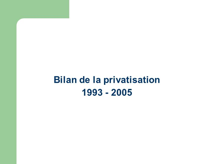 Bilan de la privatisation 1993 - 2005