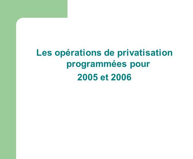 Les opérations de privatisation programmées pour 2005 et 2006
