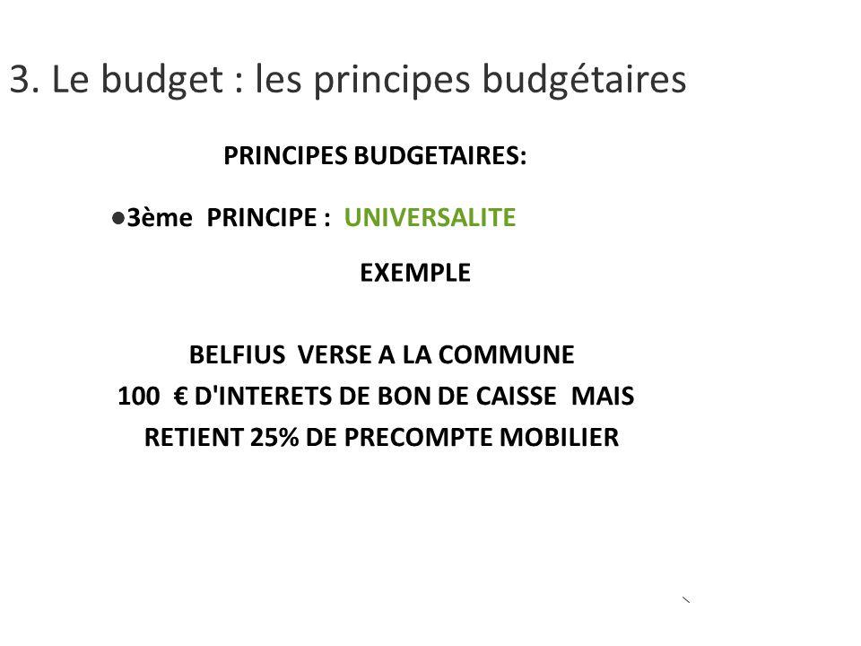 PRINCIPES BUDGETAIRES: 3ème PRINCIPE : UNIVERSALITE EXEMPLE BELFIUS VERSE A LA COMMUNE 100 D INTERETS DE BON DE CAISSE MAIS RETIENT 25% DE PRECOMPTE MOBILIER 3.