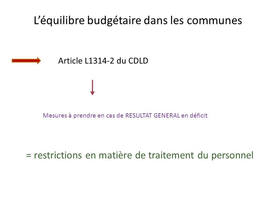 Léquilibre budgétaire dans les communes Article L1314-2 du CDLD = restrictions en matière de traitement du personnel Mesures à prendre en cas de RESULTAT GENERAL en déficit