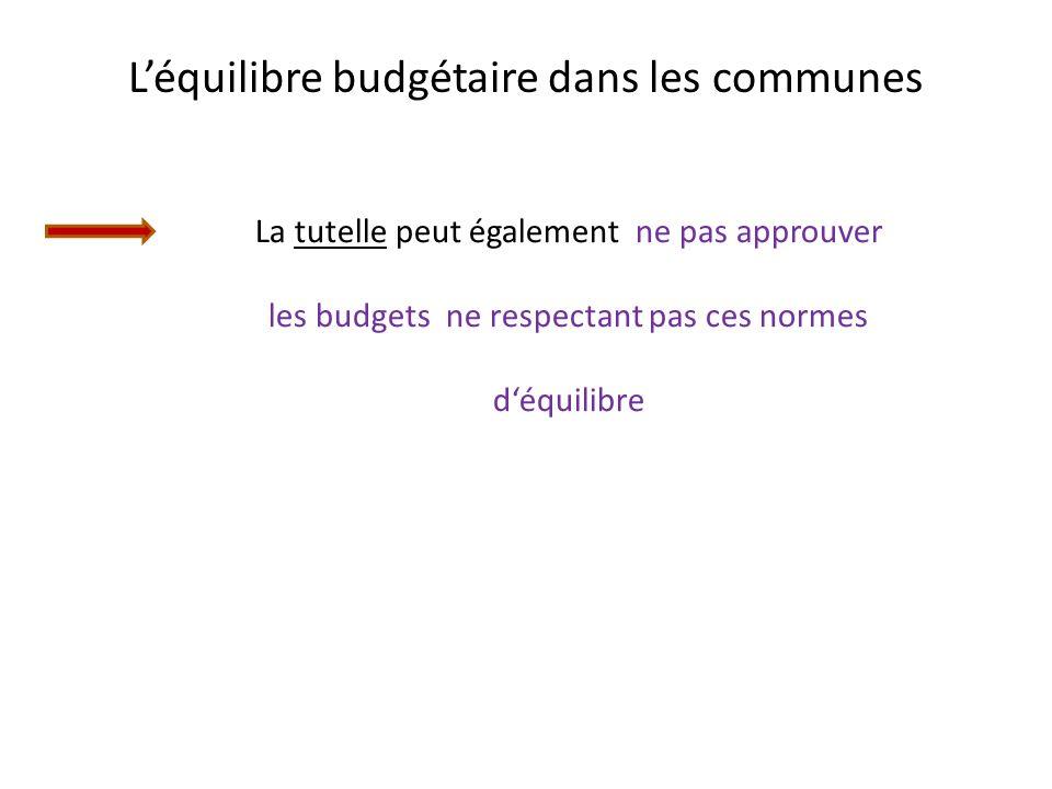 Léquilibre budgétaire dans les communes La tutelle peut également ne pas approuver les budgets ne respectant pas ces normes déquilibre