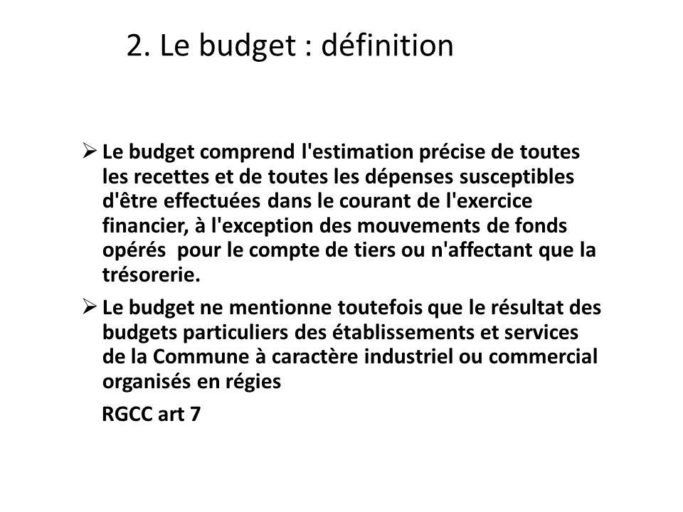 Le budget comprend l estimation précise de toutes les recettes et de toutes les dépenses susceptibles d être effectuées dans le courant de l exercice financier, à l exception des mouvements de fonds opérés pour le compte de tiers ou n affectant que la trésorerie.
