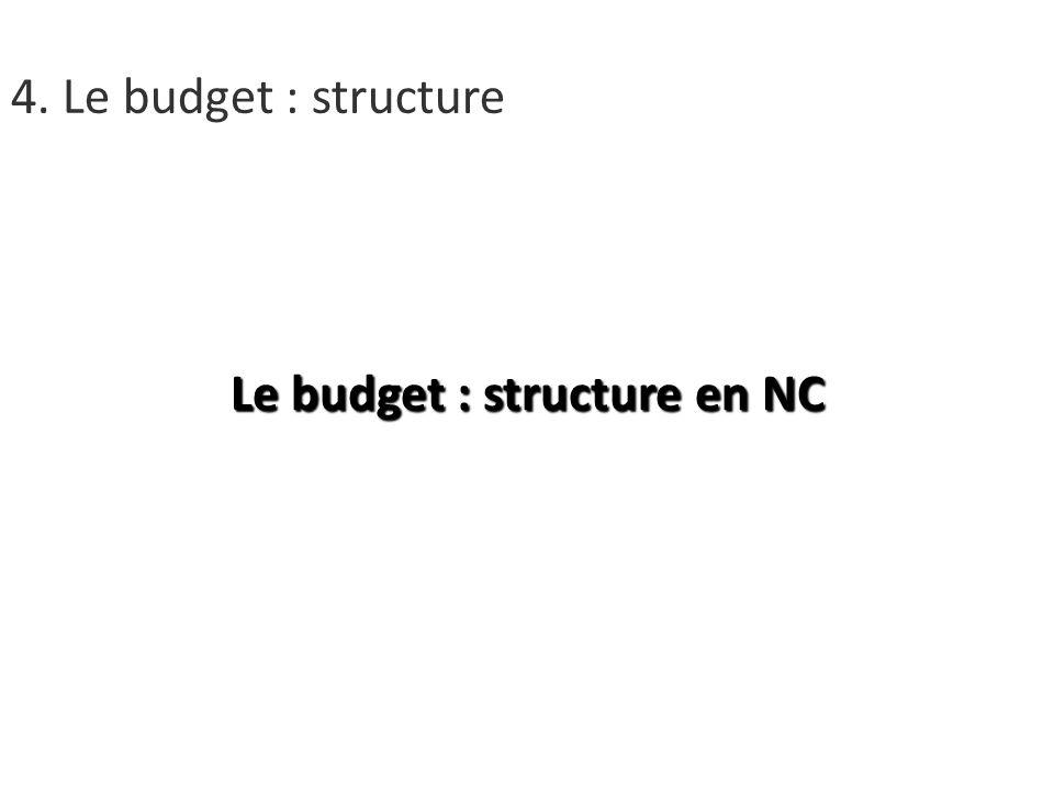 Le budget : structure en NC 4. Le budget : structure