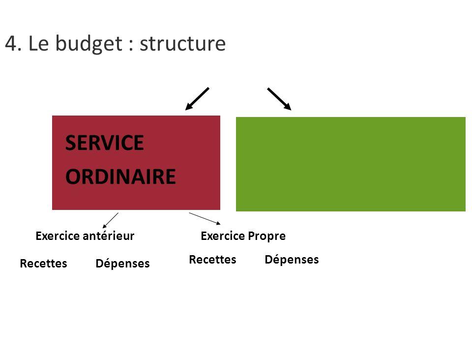 SERVICE ORDINAIRE Exercice antérieurExercice Propre Recettes Dépenses 4. Le budget : structure