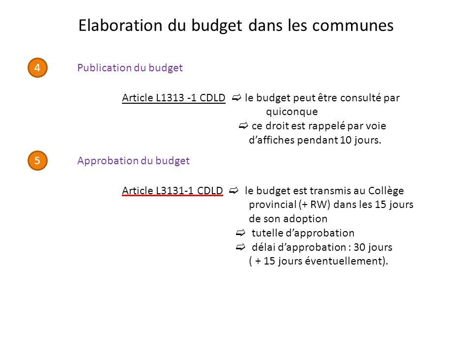 Elaboration du budget dans les communes 4 Publication du budget Article L1313 -1 CDLD le budget peut être consulté par quiconque ce droit est rappelé par voie daffiches pendant 10 jours.