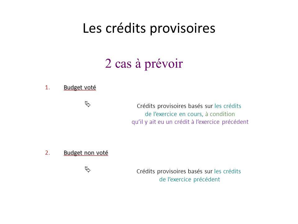 2 cas à prévoir Les crédits provisoires 1.