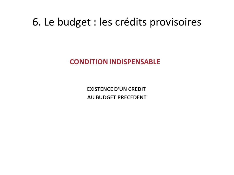 CONDITION INDISPENSABLE EXISTENCE D UN CREDIT AU BUDGET PRECEDENT 6.