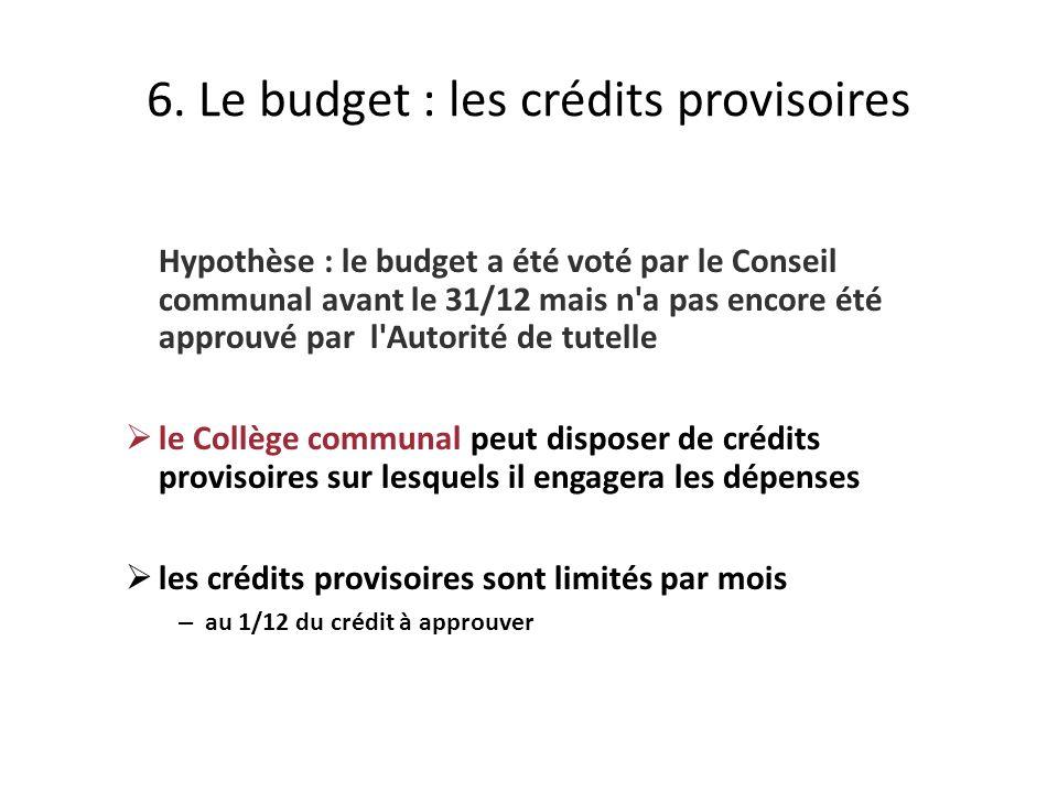 Hypothèse : le budget a été voté par le Conseil communal avant le 31/12 mais n a pas encore été approuvé par l Autorité de tutelle le Collège communal peut disposer de crédits provisoires sur lesquels il engagera les dépenses les crédits provisoires sont limités par mois – au 1/12 du crédit à approuver 6.