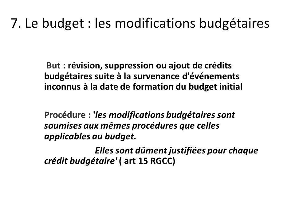 But : révision, suppression ou ajout de crédits budgétaires suite à la survenance d événements inconnus à la date de formation du budget initial Procédure : les modifications budgétaires sont soumises aux mêmes procédures que celles applicables au budget.