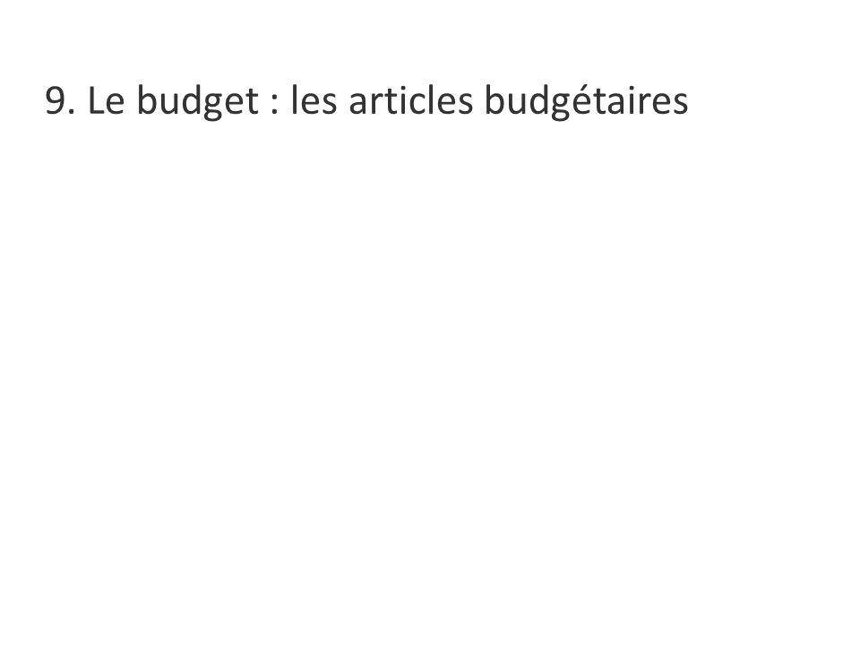 9. Le budget : les articles budgétaires