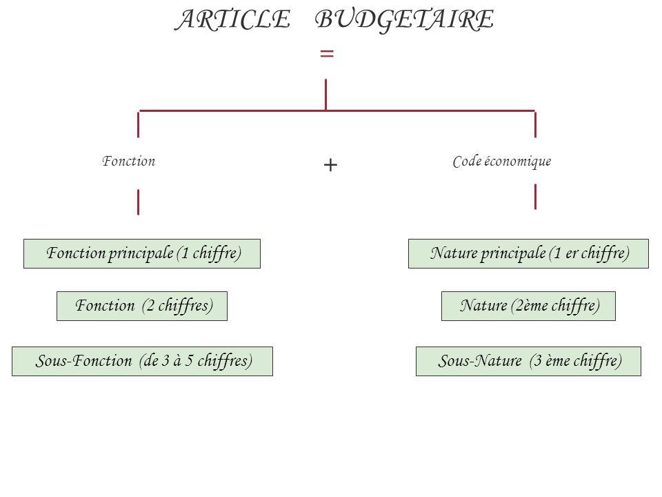 ARTICLE BUDGETAIRE = Fonction + Code économique Fonction principale (1 chiffre)Nature principale (1 er chiffre) Sous-Fonction (de 3 à 5 chiffres) Fonction (2 chiffres)Nature (2ème chiffre) Sous-Nature (3 ème chiffre)
