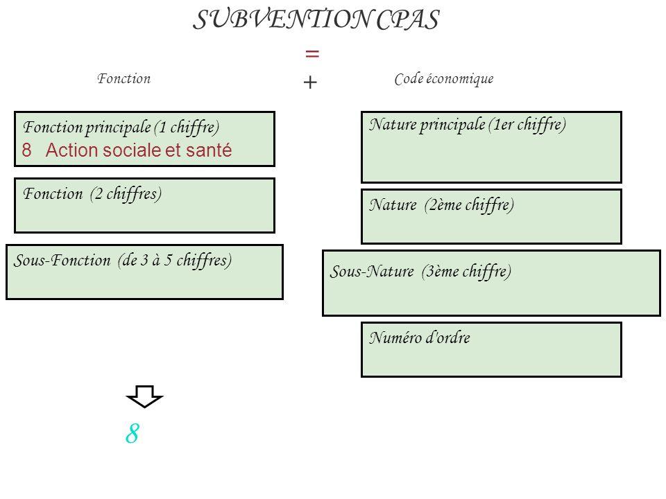 Fonction principale (1 chiffre) 8 Action sociale et santé SUBVENTION CPAS = Fonction + Code économique 8 Fonction (2 chiffres) Sous-Fonction (de 3 à 5 chiffres) Nature principale (1er chiffre) Nature (2ème chiffre) Sous-Nature (3ème chiffre) Numéro d ordre