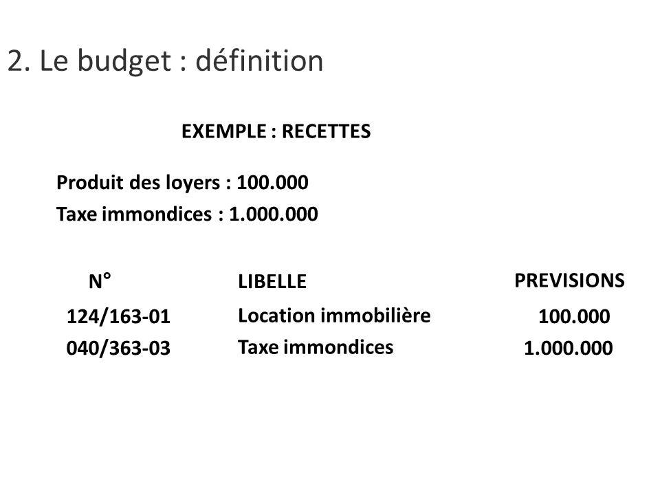 EXEMPLE : RECETTES Produit des loyers : 100.000 Taxe immondices : 1.000.000 N° 124/163-01 040/363-03 LIBELLE Location immobilière Taxe immondices PREVISIONS 100.000 1.000.000 2.
