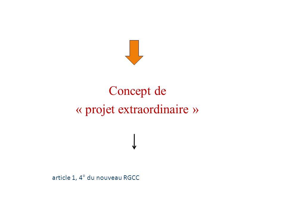 Concept de « projet extraordinaire » article 1, 4° du nouveau RGCC