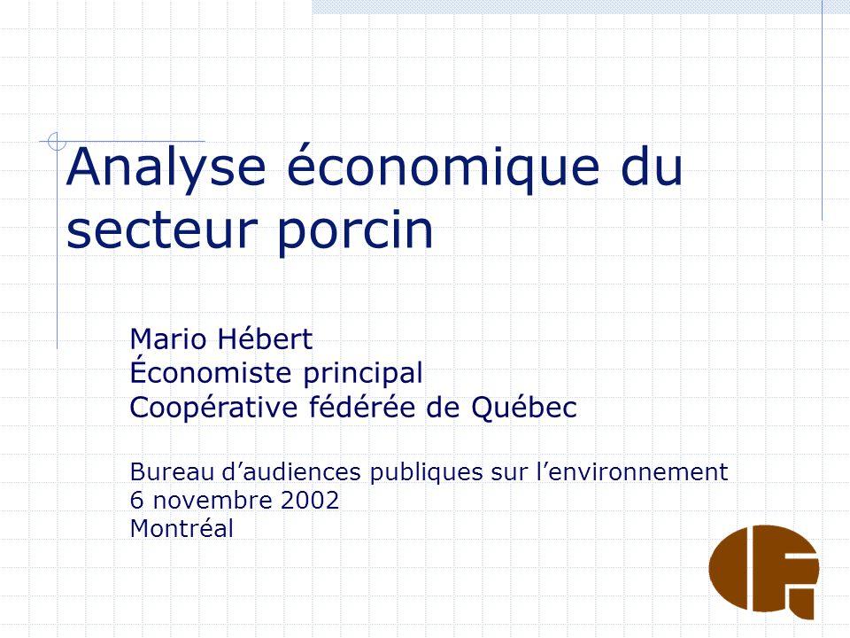 Analyse économique du secteur porcin Mario Hébert Économiste principal Coopérative fédérée de Québec Bureau daudiences publiques sur lenvironnement 6 novembre 2002 Montréal