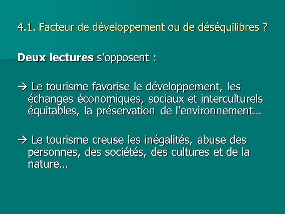 4.1. Facteur de développement ou de déséquilibres ? Deux lectures sopposent : Le tourisme favorise le développement, les échanges économiques, sociaux