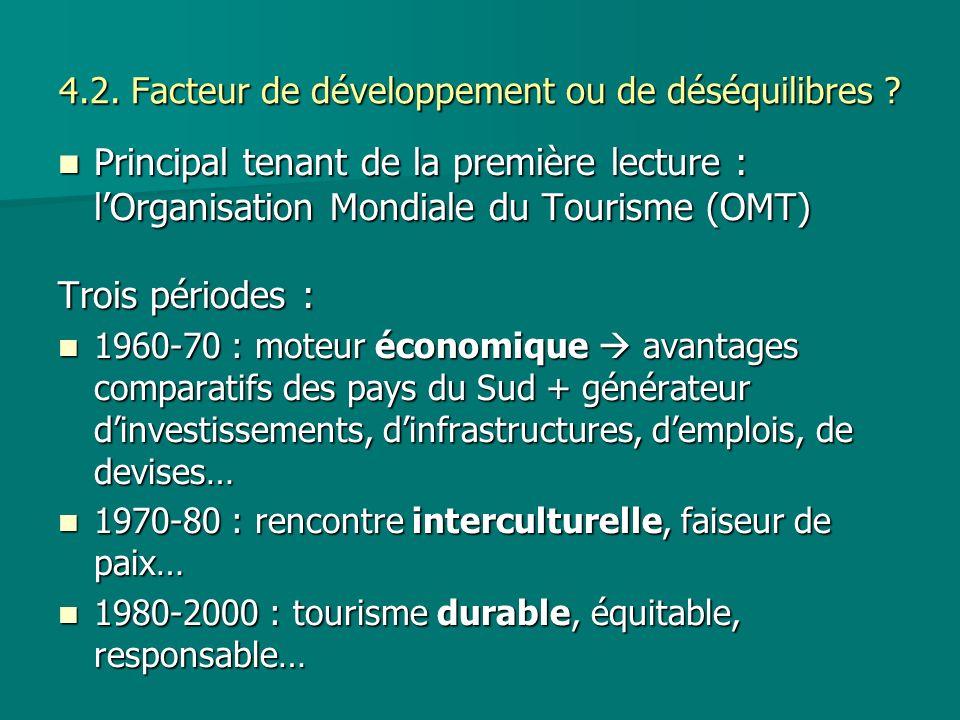 4.2. Facteur de développement ou de déséquilibres ? Principal tenant de la première lecture : lOrganisation Mondiale du Tourisme (OMT) Principal tenan