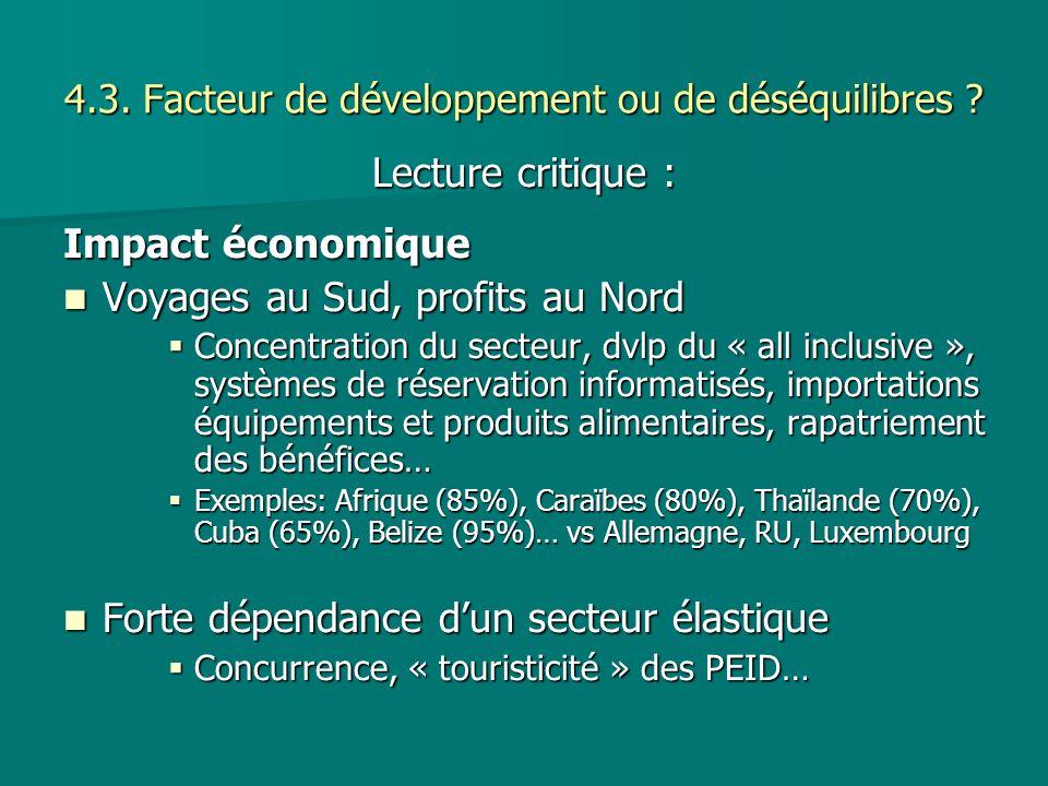 4.3. Facteur de développement ou de déséquilibres ? Lecture critique : Impact économique Voyages au Sud, profits au Nord Voyages au Sud, profits au No