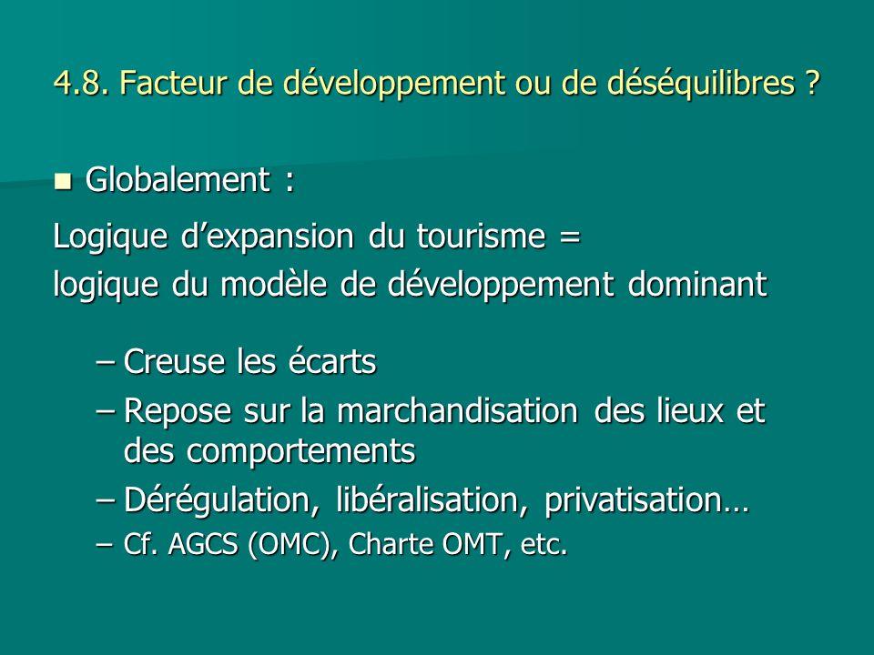 4.8. Facteur de développement ou de déséquilibres ? Globalement : Globalement : Logique dexpansion du tourisme = logique du modèle de développement do